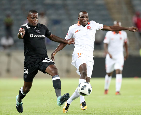 Rodney Ramagalela of Polokwane City challenged by Ntsikelelo Nyauza of Orlando Pirates during the Absa Premiership 2017/18 match between Orlando Pirates and Polokwane City at Orlando Stadium, Soweto South Africa on 20 January 2018 ©Muzi Ntombela/BackpagePix