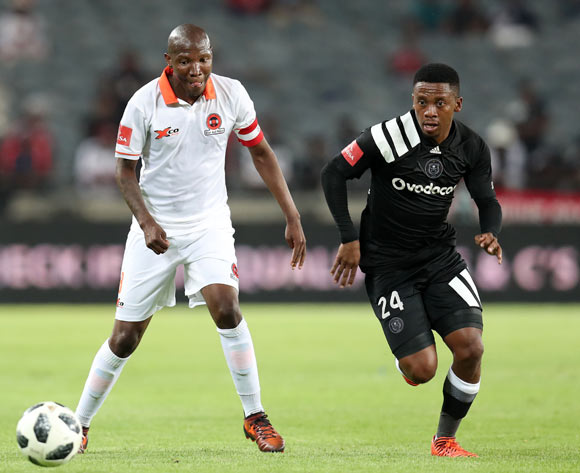 Jabulani Maluleke of Polokwane City challenged by Thabiso Kutumela of Orlando Pirates during the Absa Premiership 2017/18 match between Orlando Pirates and Polokwane City at Orlando Stadium, Soweto South Africa on 20 January 2018 ©Muzi Ntombela/BackpagePix