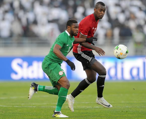 Saeid Saleh Taher of Libya is challenged by Kalu Orji Okogbue of Nigeria during the CHAN Group C match between Libya and Nigeria on 19 January 2018 at Grand Stade de Tanger, Tanger Morocco Pic Sydney Mahlangu/BackpagePix