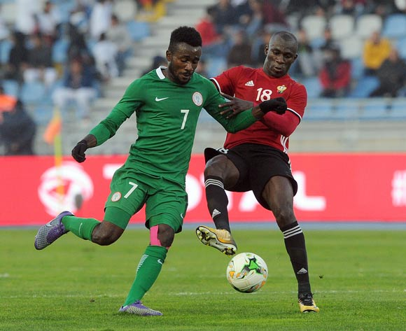 Ahmed Bader Hasan of Libya challenges Chukwudiebube Emeka Ogbugh of Nigeria during the CHAN Group C match between Libya and Nigeria on 19 January 2018 at Grand Stade de Tanger, Tanger Morocco Pic Sydney Mahlangu/BackpagePix