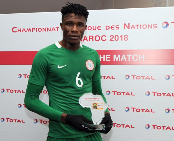 Stephen Eze of Nigeria awarded TOTAL man of the match award during the CHAN Group C match between Libya and Nigeria on 19 January 2018 at Grand Stade de Tanger, Tanger Morocco Pic Sydney Mahlangu/BackpagePix