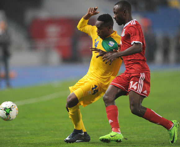 Eric Iradukunda of Rwanda is challenged by Miguel Angel Nsue Nzang of Equatorial Guinea during the CHAN Group C match between Rwanda and Equatorial Guinea on 19 January 2018 at Grand Stade de Tanger, Tanger Morocco Pic Sydney Mahlangu/BackpagePix