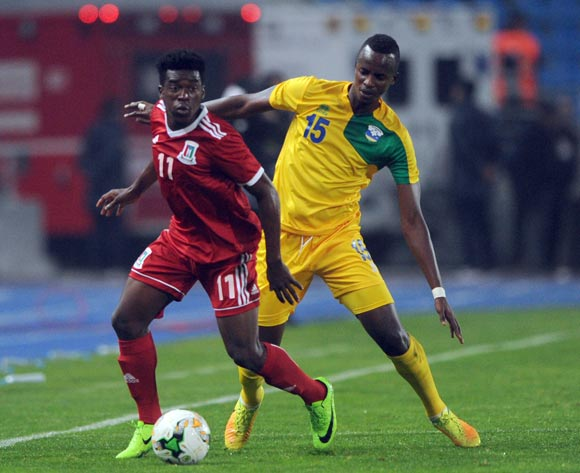 Faustin Usengimana of Rwanda challenges Ndong Owono Nchama Basilio of Equatorial Guinea during the CHAN Group C match between Rwanda and Equatorial Guinea on 19 January 2018 at Grand Stade de Tanger, Tanger Morocco Pic Sydney Mahlangu/BackpagePix