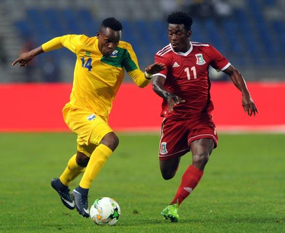 Eric Iradukunda of Rwanda is challenged by Ndong Owono Nchama Basilio of Equatorial Guinea during the CHAN Group C match between Rwanda and Equatorial Guinea on 19 January 2018 at Grand Stade de Tanger, Tanger Morocco Pic Sydney Mahlangu/BackpagePix
