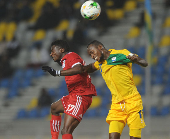 Pedro Oba Mbengono Asu of Equatorial Guinea is challenged by Thierry Manzi of Rwanda during the CHAN Group C match between Rwanda and Equatorial Guinea on 19 January 2018 at Grand Stade de Tanger, Tanger Morocco Pic Sydney Mahlangu/BackpagePix