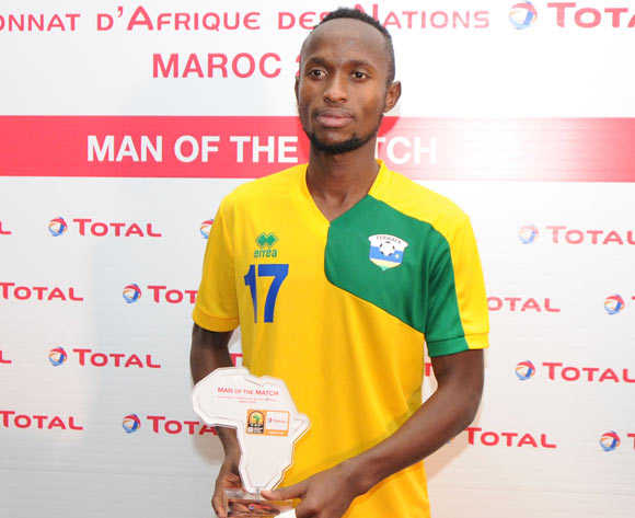 Thierry Manzi of Rwanda awarded TOTAL man of the match during the CHAN Group C match between Rwanda and Equatorial Guinea on 19 January 2018 at Grand Stade de Tanger, Tanger Morocco Pic Sydney Mahlangu/BackpagePix