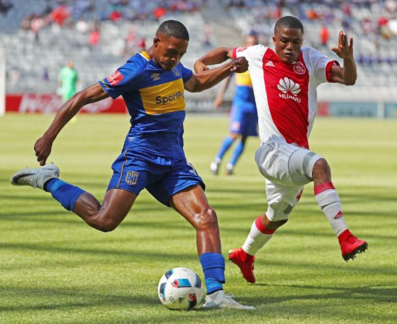 Craig Martin of Cape Town City challenged by Samuel Julies of Ajax Cape Town during the Absa Premiership 2017/18 football match between Cape Town City FC and Ajax Cape Town at Cape Town Stadium, Cape Town on 20 January 2018 ©Chris Ricco/BackpagePix