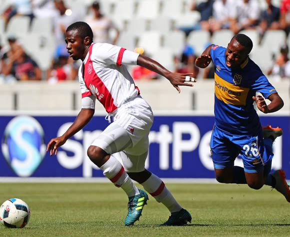 Gerald Takwara of Ajax Cape Town tackles Thabo Nodada of Cape Town City during the Absa Premiership 2017/18 football match between Cape Town City FC and Ajax Cape Town at Cape Town Stadium, Cape Town on 20 January 2018 ©Chris Ricco/BackpagePix
