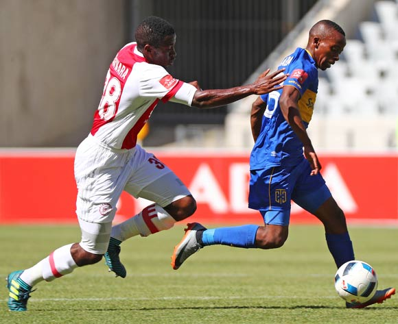 Thabo Nodada of Cape Town City challenged by Gerald Takwara of Ajax Cape Town during the Absa Premiership 2017/18 football match between Cape Town City FC and Ajax Cape Town at Cape Town Stadium, Cape Town on 20 January 2018 ©Chris Ricco/BackpagePix