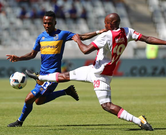 Teko Modise of Cape Town City challenged by Tercious Malepe of Ajax Cape Town during the Absa Premiership 2017/18 football match between Cape Town City FC and Ajax Cape Town at Cape Town Stadium, Cape Town on 20 January 2018 ©Chris Ricco/BackpagePix