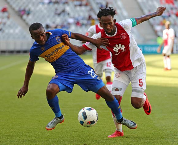 Thabo Nodada of Cape Town City fouled by Mosa Lebusa of Ajax Cape Town during the Absa Premiership 2017/18 football match between Cape Town City FC and Ajax Cape Town at Cape Town Stadium, Cape Town on 20 January 2018 ©Chris Ricco/BackpagePix
