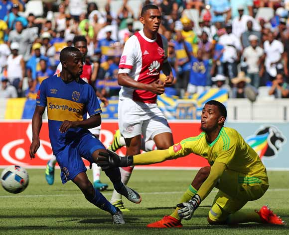 Brandon Petersen of Ajax Cape Town saves a shot from Thabo Nodada of Cape Town City during the Absa Premiership 2017/18 football match between Cape Town City FC and Ajax Cape Town at Cape Town Stadium, Cape Town on 20 January 2018 ©Chris Ricco/BackpagePix
