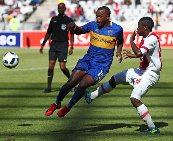 Ayanda Patosi of Cape Town City challenged by Gerald Takwara of Ajax Cape Town during the Absa Premiership 2017/18 football match between Cape Town City FC and Ajax Cape Town at Cape Town Stadium, Cape Town on 20 January 2018 ©Chris Ricco/BackpagePix
