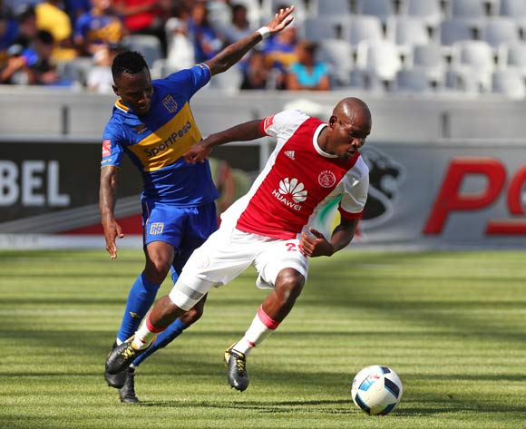 Tercious Malepe of Ajax Cape Town challenged by Teko Modise of Cape Town City during the Absa Premiership 2017/18 football match between Cape Town City FC and Ajax Cape Town at Cape Town Stadium, Cape Town on 20 January 2018 ©Chris Ricco/BackpagePix