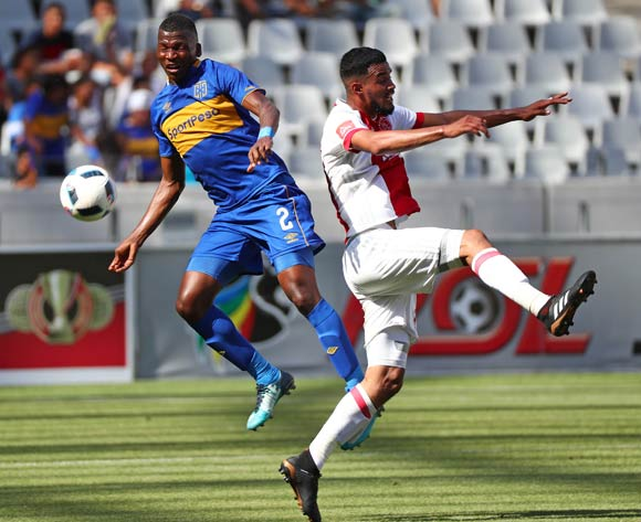 Thabo Nodada of Cape Town City battles for the ball with Tashreeq Morris of Ajax Cape Town during the Absa Premiership 2017/18 football match between Cape Town City FC and Ajax Cape Town at Cape Town Stadium, Cape Town on 20 January 2018 ©Chris Ricco/BackpagePix