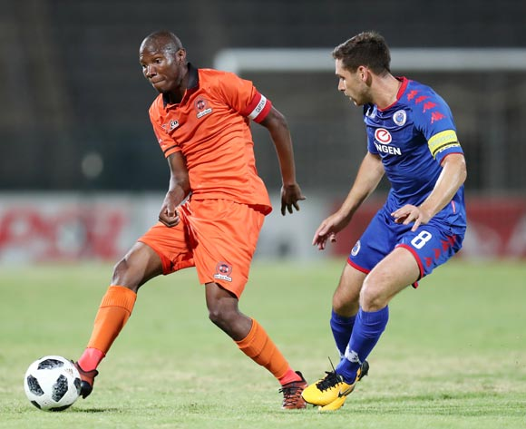 Jabulani Maluleke of Polokwane City challenged by Dean Furman of Supersport United during the Absa Premiership 2017/18 match between Supersport United and Polokwane City at Lucas Moripe Stadium, Atteridgeville South Africa on 23 January 2018 ©Muzi Ntombela/BackpagePix