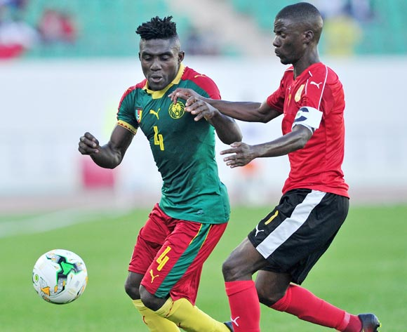 Thomas Bawak Etta of Cameroon is challenged by Ricardo Job Estevaov of Angola during the 2018 Chan game between Angola and Cameroon at Le Grand Stade Agadir in Agadir, Morocco on 20 January 2018 © Ryan Wilkisky/BackpagePix