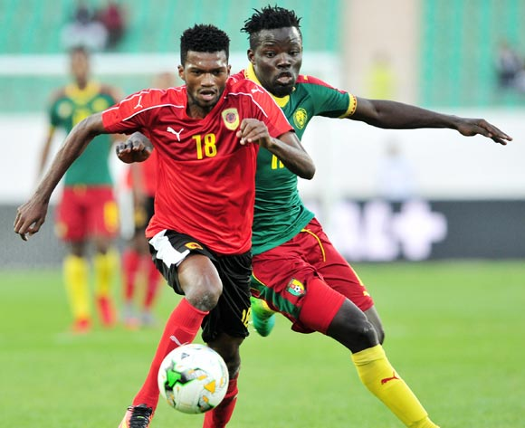 Herenilson Do Carmo of Angola is challenged by Willy Namedji of Cameroon during the 2018 Chan game between Angola and Cameroon at Le Grand Stade Agadir in Agadir, Morocco on 20 January 2018 © Ryan Wilkisky/BackpagePix