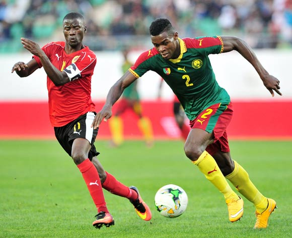 Bertrand Owundi of Cameroon is challenged by Ricardo Job Estevaov of Angola during the 2018 Chan game between Angola and Cameroon at Le Grand Stade Agadir in Agadir, Morocco on 20 January 2018 © Ryan Wilkisky/BackpagePix