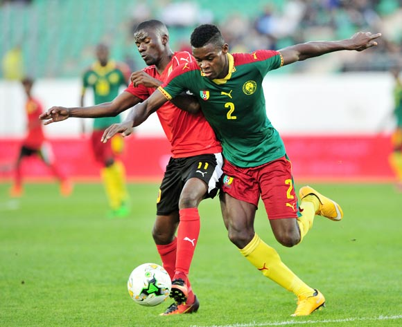 Ricardo Job Estevaov of Angola is fouled by Bertrand Owundi of Cameroon during the 2018 Chan game between Angola and Cameroon at Le Grand Stade Agadir in Agadir, Morocco on 20 January 2018 © Ryan Wilkisky/BackpagePix