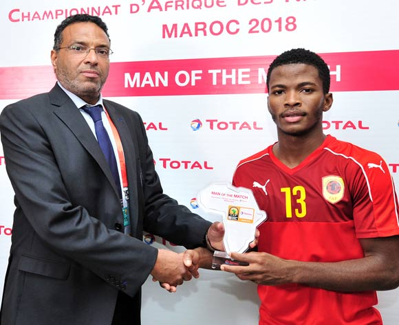 Vladimir Etson Va of Angola receives his Man of the Match award after the 2018 Chan game between Angola and Cameroon at Le Grand Stade Agadir in Agadir, Morocco on 20 January 2018 © Ryan Wilkisky/BackpagePix