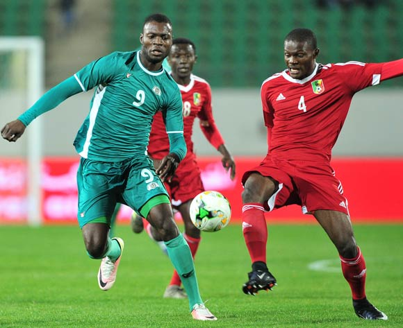 Francoeur Kibamba of Congo gets to the ball ahead of Bersyl Obassi Ngatsongo of Congo during the 2018 Chan game between Congo and Burkina Faso at Le Grand Stade Agadir in Agadir, Morocco on 20 January 2018 © Ryan Wilkisky/BackpagePix