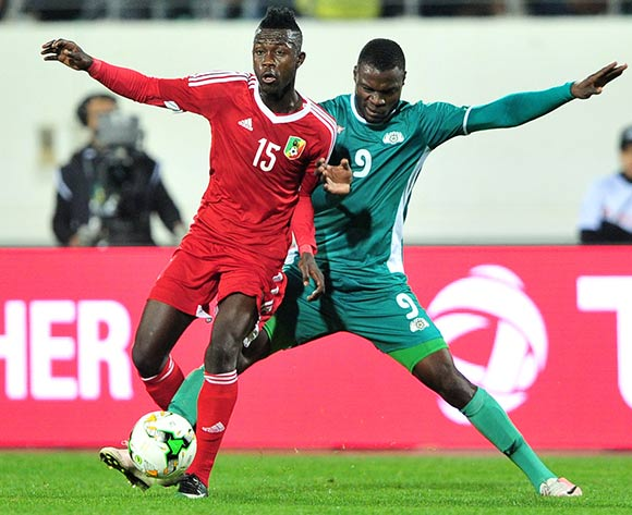 Varel Joviale Rozan of Congo is challenged by Romeo Boni of Burkina Faso during the 2018 Chan game between Congo and Burkina Faso at Le Grand Stade Agadir in Agadir, Morocco on 20 January 2018 © Ryan Wilkisky/BackpagePix