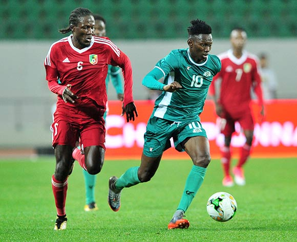 Sydney Mohamed Sylla of Burkina Faso takes on Dimitry Davy Bissiki of Congo during the 2018 Chan game between Congo and Burkina Faso at Le Grand Stade Agadir in Agadir, Morocco on 20 January 2018 © Ryan Wilkisky/BackpagePix