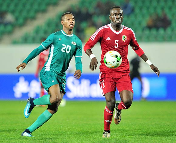 Nathanio Kompaore of Burkina Faso and Carof Bakoua of Congo give chase during the 2018 Chan game between Congo and Burkina Faso at Le Grand Stade Agadir in Agadir, Morocco on 20 January 2018 © Ryan Wilkisky/BackpagePix