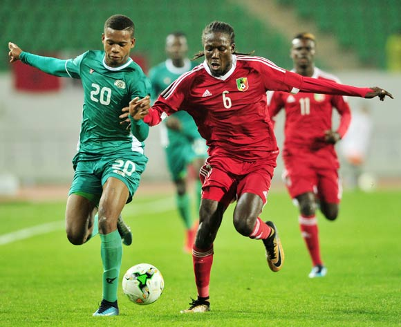 Nathanio Kompaore of Burkina Faso is challenged by Dimitry Davy Bissiki of Congo during the 2018 Chan game between Congo and Burkina Faso at Le Grand Stade Agadir in Agadir, Morocco on 20 January 2018 © Ryan Wilkisky/BackpagePix