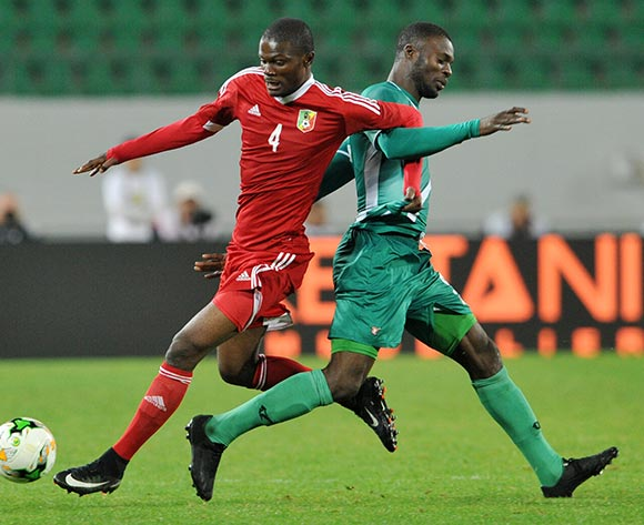 Francoeur Kibamba of Congo and Romeo Boni of Burkina Faso tussle during the 2018 Chan game between Congo and Burkina Faso at Le Grand Stade Agadir in Agadir, Morocco on 20 January 2018 © Ryan Wilkisky/BackpagePix