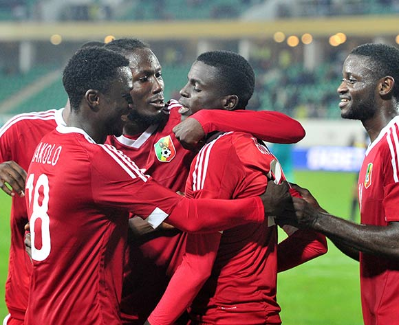 Congo players celebrate a goal scored by Georges Kader Bidimbou of Congo during the 2018 Chan game between Congo and Burkina Faso at Le Grand Stade Agadir in Agadir, Morocco on 20 January 2018 © Ryan Wilkisky/BackpagePix