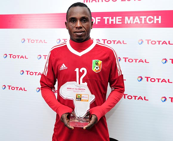 Junior Makiesse Mouzita of Congo receives his Man of the Match award after the 2018 Chan game between Congo and Burkina Faso at Le Grand Stade Agadir in Agadir, Morocco on 20 January 2018 © Ryan Wilkisky/BackpagePix