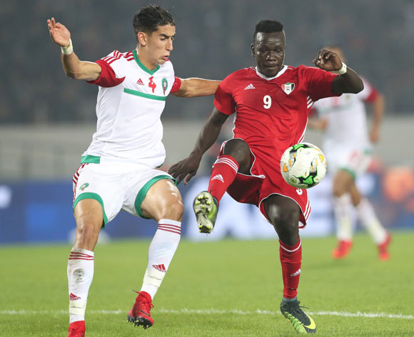 Saifeldin Malik Bakhit of Sudan shields ball from Nayef Aguerd of Morocco during the 2018 Chan football game between Sudan and Morocco at Stade Mohammed V in Casablanca, Morocco on 21 January 2018 ©Gavin Barker/BackpagePix