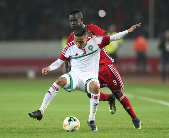 Hamza Semmoumy of Morocco shields ball from Saifeldin Malik Bakhit of Sudan during the 2018 Chan football game between Sudan and Morocco at Stade Mohammed V in Casablanca, Morocco on 21 January 2018 ©Gavin Barker/BackpagePix