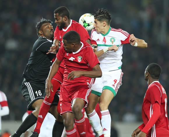Nayef Aguerd of Morocco (r) wins header against Akram Elhadi, Maaz Abdelraheem and Bakri Bachir Bakri Makki during the 2018 Chan football game between Sudan and Morocco at Stade Mohammed V in Casablanca, Morocco on 21 January 2018 ©Gavin Barker/BackpagePix