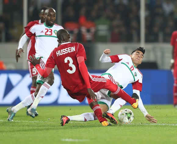 Achraf Bencharki of Morocco tackled by Hussein Ibrahim Ahmed of Sudan during the 2018 Chan football game between Sudan and Morocco at Stade Mohammed V in Casablanca, Morocco on 21 January 2018 ©Gavin Barker/BackpagePix