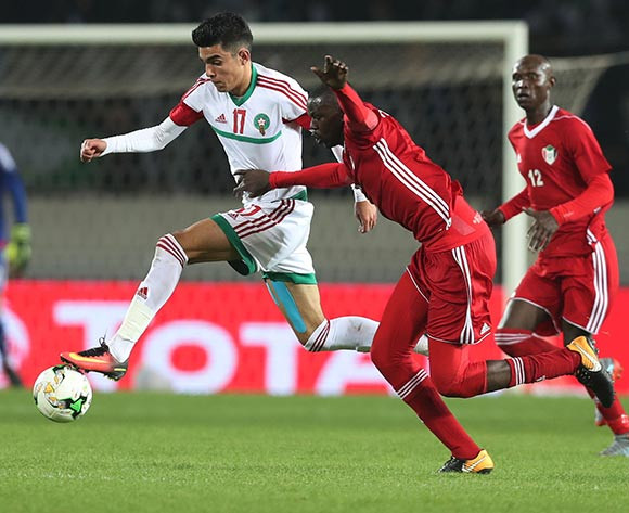 Achraf Bencharki of Morocco challenged by Hussein Ibrahim Ahmed of Sudan  during the 2018 Chan football game between Sudan and Morocco at Stade Mohammed V in Casablanca, Morocco on 21 January 2018 ©Gavin Barker/BackpagePix