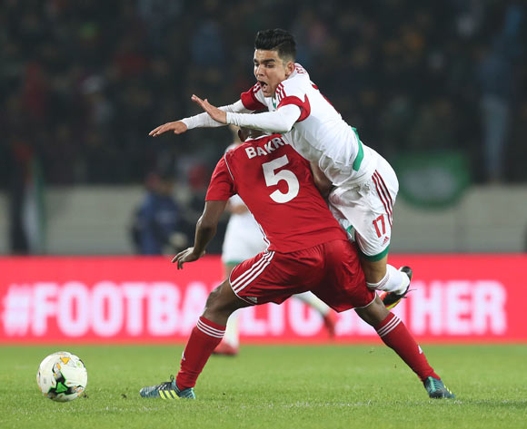Achraf Bencharki of Morocco fouled by Bakri Bachir Bakri Makki of Sudan  during the 2018 Chan football game between Sudan and Morocco at Stade Mohammed V in Casablanca, Morocco on 21 January 2018 ©Gavin Barker/BackpagePix