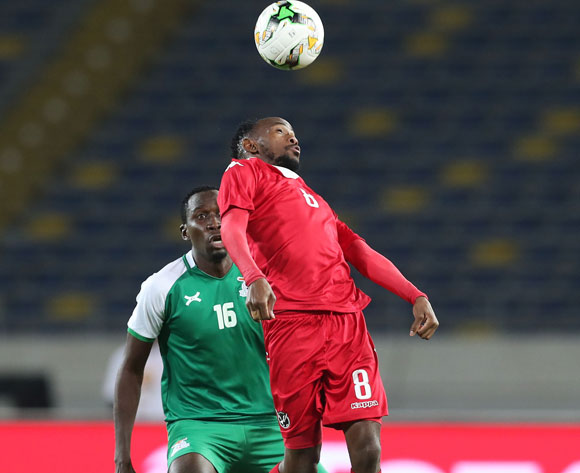 Dynamo Carlos Fredericks of Namibia challenged by Kondwani Mtonga of Zambia during the 2018 Chan football game between Namibia and Zambia at Stade Mohammed V in Casablanca, Morocco on 22 January 2018 ©Gavin Barker/BackpagePix