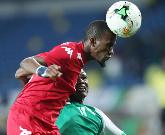 Teberius Ivo Lombard of Namibia wins header against Mike Katiba of Zambia during the 2018 Chan football game between Namibia and Zambia at Stade Mohammed V in Casablanca, Morocco on 22 January 2018 ©Gavin Barker/BackpagePix