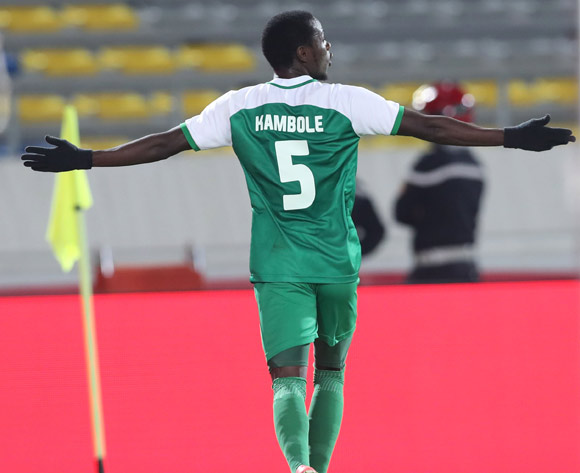 Lazarous Kambole of Zambia celebrates goal during the 2018 Chan football game between Namibia and Zambia at Stade Mohammed V in Casablanca, Morocco on 22 January 2018 ©Gavin Barker/BackpagePix