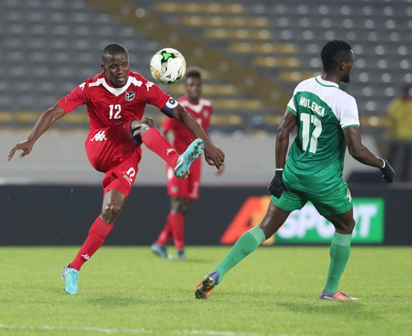 Himeekua Ronald Ketjijere of Namibia clears from Augustine Kabaso Mulenga of Zambia  during the 2018 Chan football game between Namibia and Zambia at Stade Mohammed V in Casablanca, Morocco on 22 January 2018 ©Gavin Barker/BackpagePix