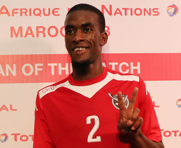 Teberius Ivo Lombard of Namibia wins the Total Man of the Match Award during the 2018 Chan football game between Namibia and Zambia at Stade Mohammed V in Casablanca, Morocco on 22 January 2018 ©Gavin Barker/BackpagePix