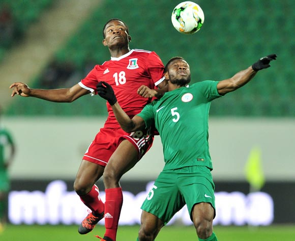 Secundino Salvador Nsi Eyama of Equatorial Guinea and Kalu Orji Okogbue of Nigeria battle in the air during the 2018 Chan game between Equatorial Guinea and Nigeria at Le Grand Stade Agadir in Agadir, Morocco on 23 January 2018 © Ryan Wilkisky/BackpagePix