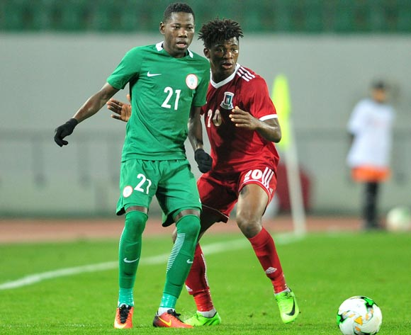 Sunday Adeyemi Faleye of Nigeria is challenged by Mariano Ondo Monsuy Angong of Equatorial Guinea during the 2018 Chan game between Equatorial Guinea and Nigeria at Le Grand Stade Agadir in Agadir, Morocco on 23 January 2018 © Ryan Wilkisky/BackpagePix