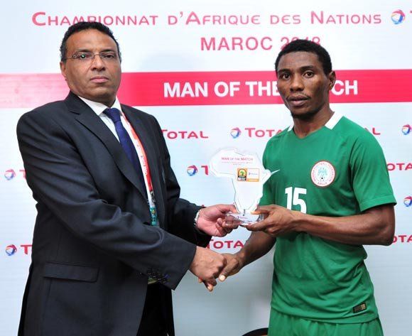 Ekundayo Solomon Ojo of Nigeria receives his Man of the Match award after the 2018 Chan game between Equatorial Guinea and Nigeria at Le Grand Stade Agadir in Agadir, Morocco on 23 January 2018 © Ryan Wilkisky/BackpagePix