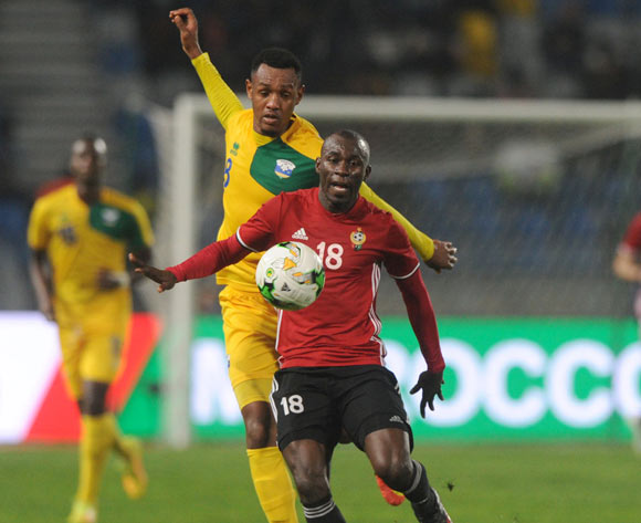 Ally Niyonzima of Rwanda challenges Ahmed Bader Hasan of Libya during the CHAN Group C match between Rwanda and Libya on 23 January 2018 at Grand Stade de Tanger, Tanger Morocco Pic Sydney Mahlangu/BackpagePix