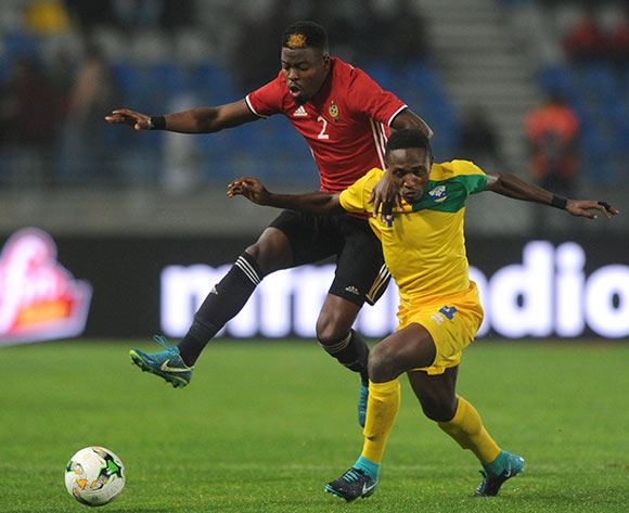 Djihad Bizimana of Rwanda is challenged by Ahmed Mohamed Al Maghasi of Libya during the CHAN Group C match between Rwanda and Libya on 23 January 2018 at Grand Stade de Tanger, Tanger Morocco Pic Sydney Mahlangu/BackpagePix