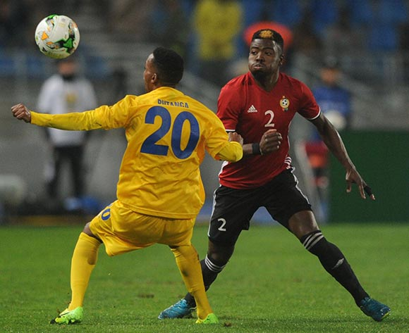Eric Rutanga of Rwanda challenges Ahmed Mohamed Al Maghasi of Libya during the CHAN Group C match between Rwanda and Libya on 23 January 2018 at Grand Stade de Tanger, Tanger Morocco Pic Sydney Mahlangu/BackpagePix